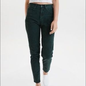 AEO Corduroy Mom Jeans Dark Green